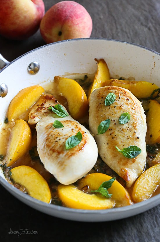 Skillet Basil-Peach Chicken Breasts