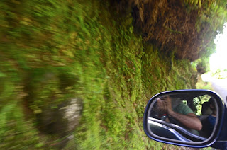 Visão do passageiro em uma  estrada da ilha caribenha de Grenada. Mão esquerda de direção