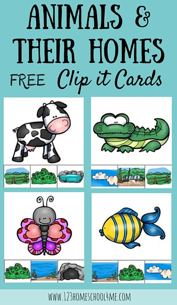 FREE Animal Homes Clip it Cards