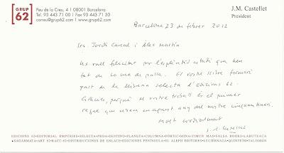Felicitació manuscrita de Josep Maria Castellet