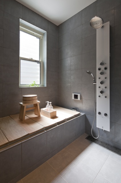 Modern grey small bathroom