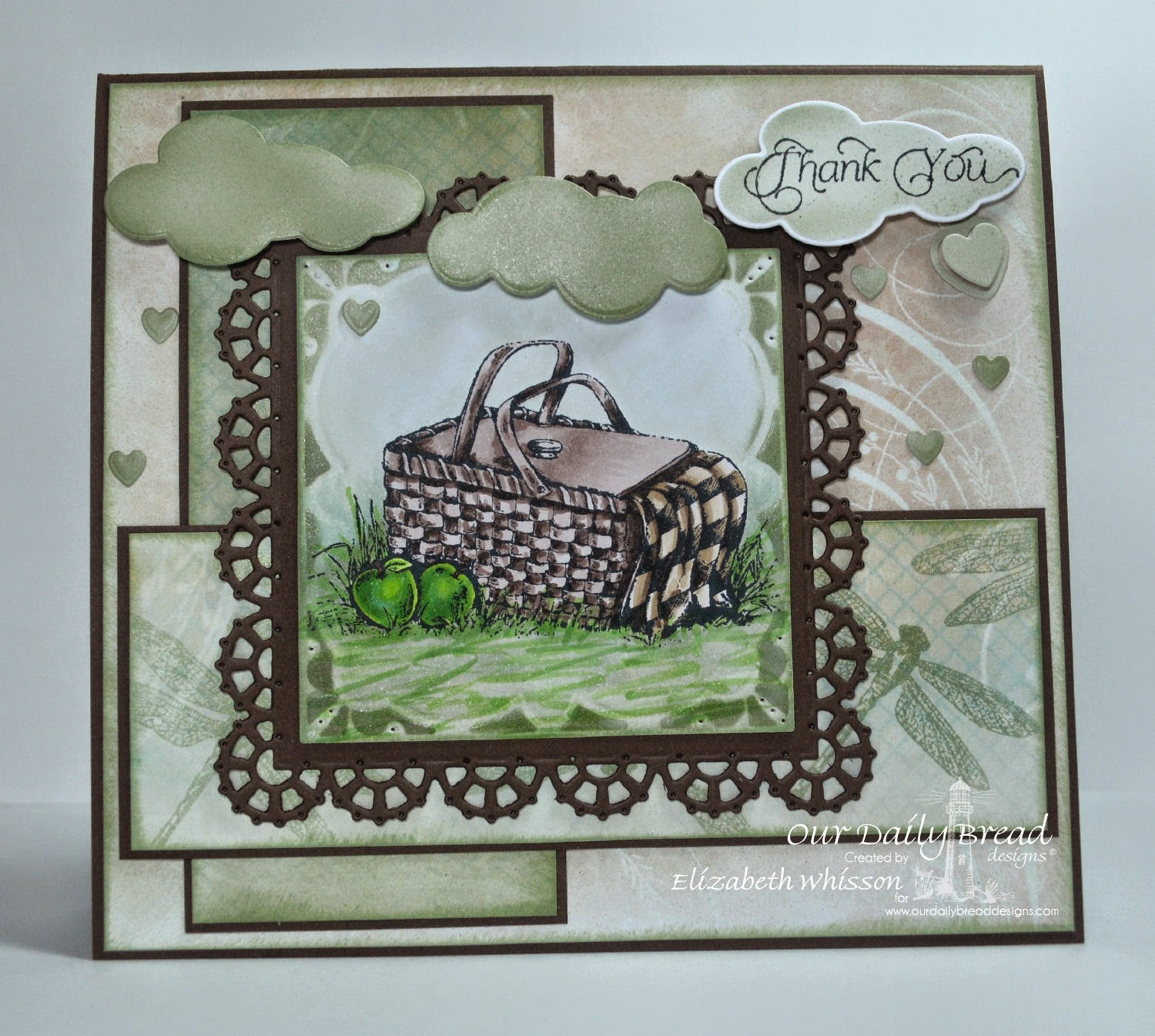 Our Daily Bread Designs, Thank you, Dragonfly Mini, ODBD Layered Lacey Squares Dies, ODBD Clouds and Raindrops Dies, ODBD Mini Tags Dies, ODBD Shabby Rose Paper Collection, Designed by Elizabeth Whisson