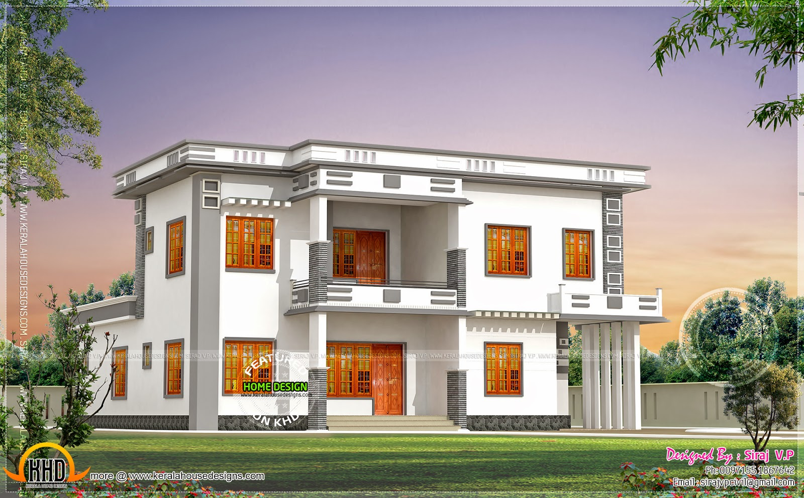 Home Front Elevation Colour : Contemporary villa in different color combinations
