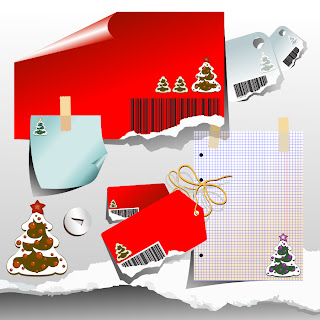 クリスマスに因んだ紙のクリップアート christmas clip art of paper イラスト素材