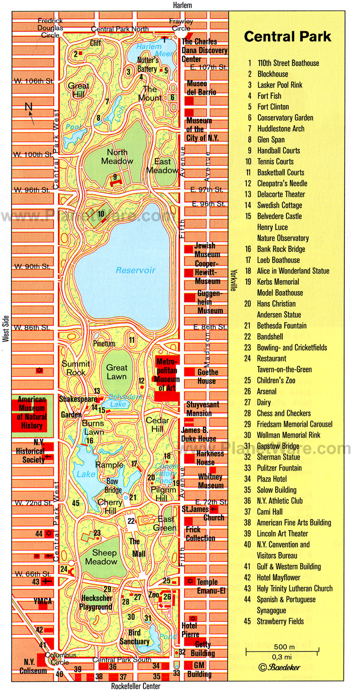 Central Park Map Pdf Central Park Nyc Map Central