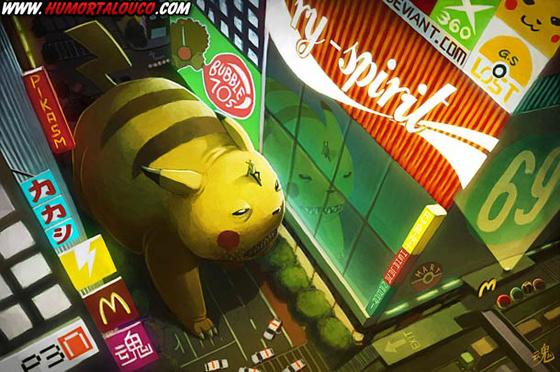 18 animações do mundo dos vídeos games e desenhos - Monstro Pikachu pokemon na cidade