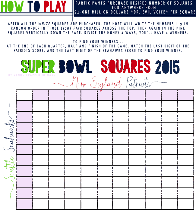 image regarding Printable Super Bowl Pools identified as Tremendous Bowl Squares 2015 No cost Printable + How Towards Enjoy Tremendous
