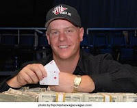 Erick Lindgren after winning his first WSOP bracelet in 2008
