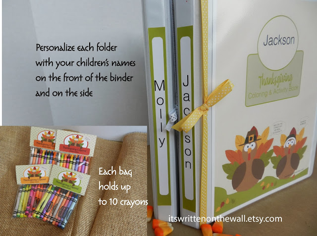 Thanksgiving Crayon Bag Toppers and Book