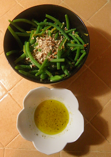 Cooked Green Beans with Ginger and Almonds, Dressing on the Side