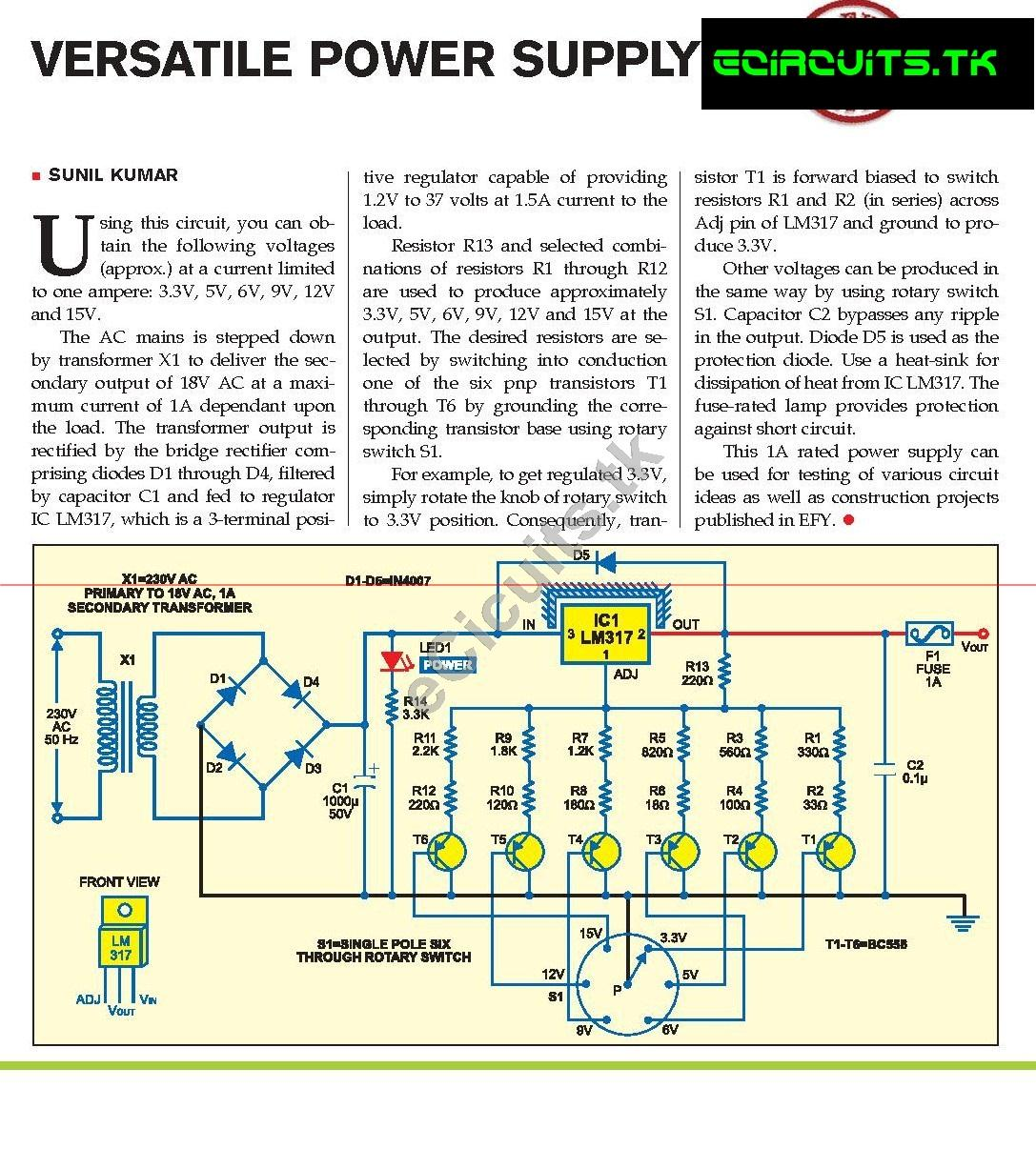 Versatile Power Supply Electronics Circuits For You 01v To 50v Variable