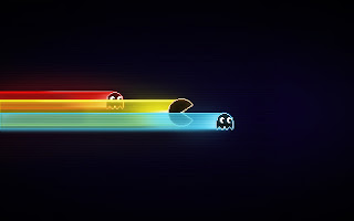 Nice and simple colourful pacman desktop wallpaper