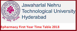 jntuh I year timetable 2013 for Bpharmacy