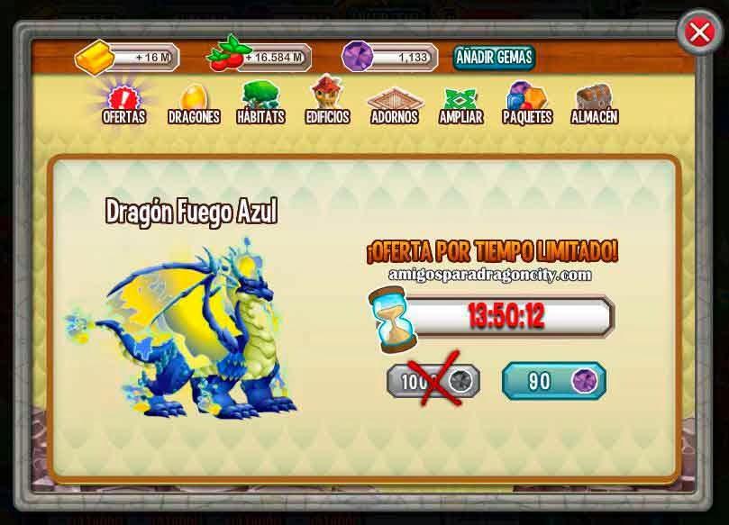 imagen del dragon fuego azul a 90 gemas