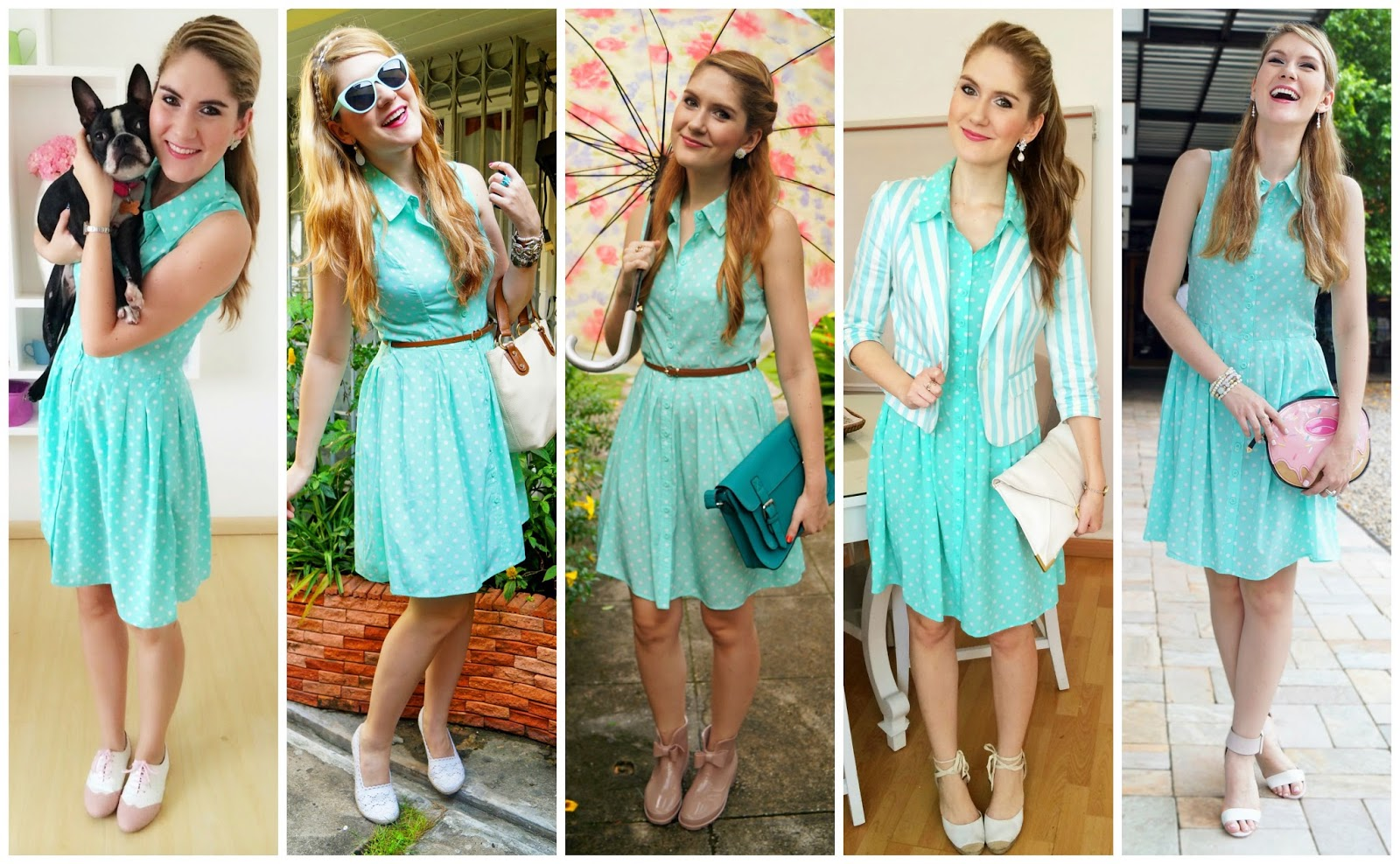 How to wear a Polka Dot Dress. 1 Dress 5 ways!