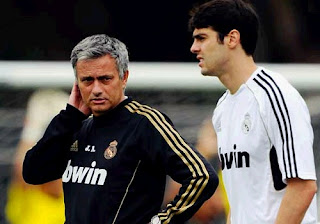 Ricardo Kaka and Jose Mourinho training with Real Madrid jersey