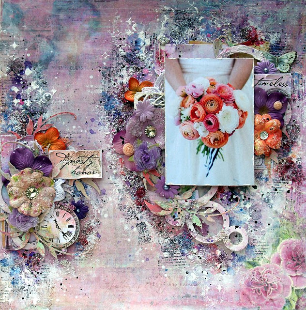 Mixed media bridal/wedding layout by Anna Rogalska