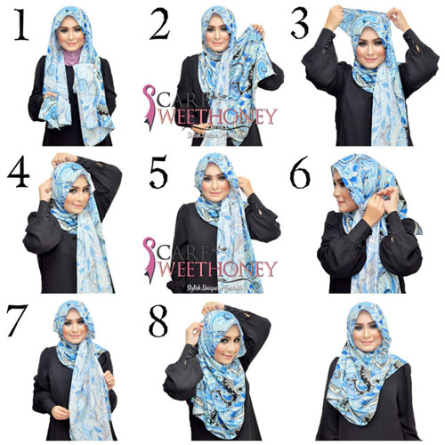 cara memakai hijab modern 6