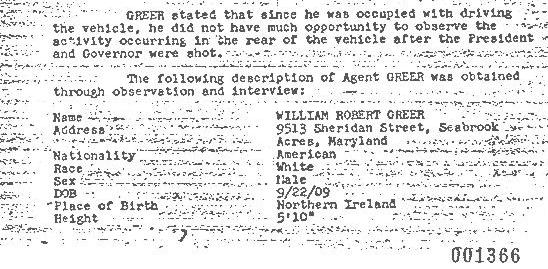 The FBI took Bill Greer's complete physical description on the night of the assassination!