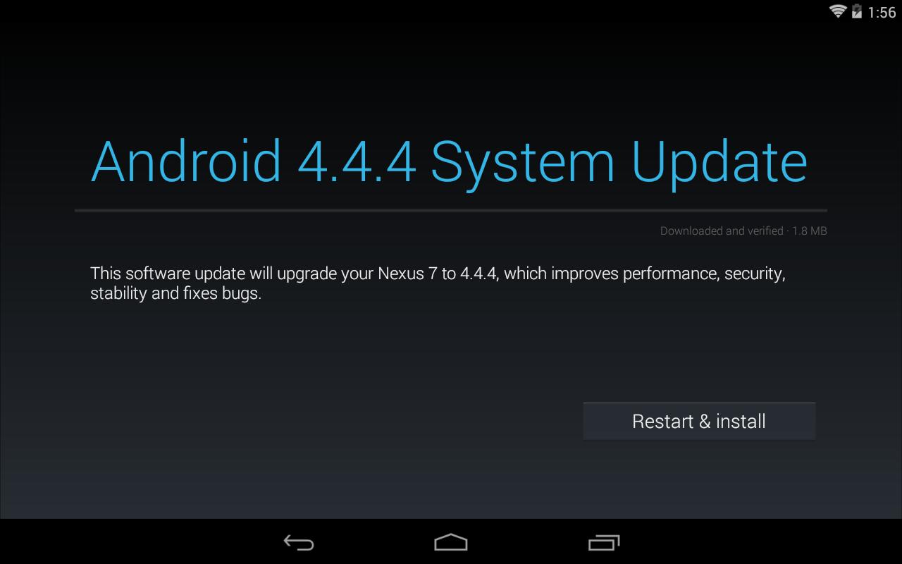 Nexus Seven Have Android 4.4.4 Arrangement Update