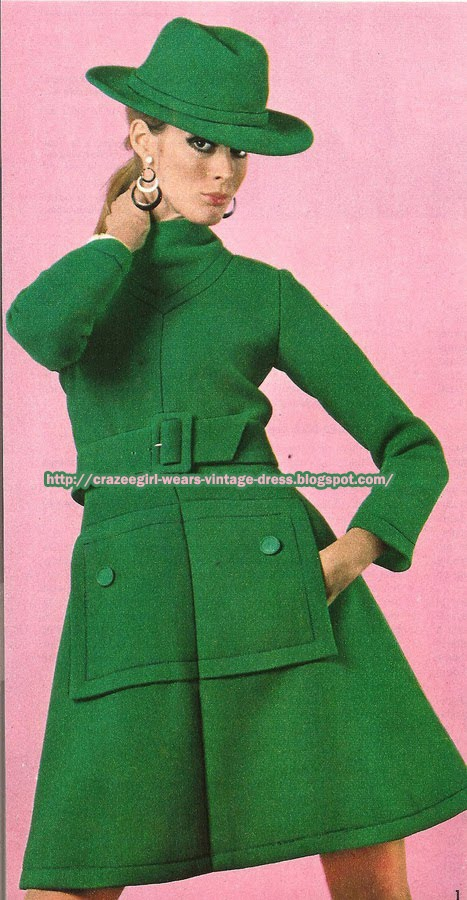 Green wool dress coat  - Mendès for Jean Patou 1967 60s 1960