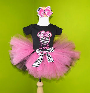 Pink And Black Zebra Mouse Tutu Outfit