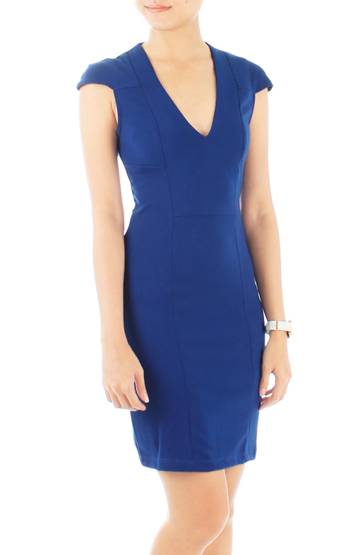 Cobalt Blue Svelte Executive Dress with Seamless Shoulder