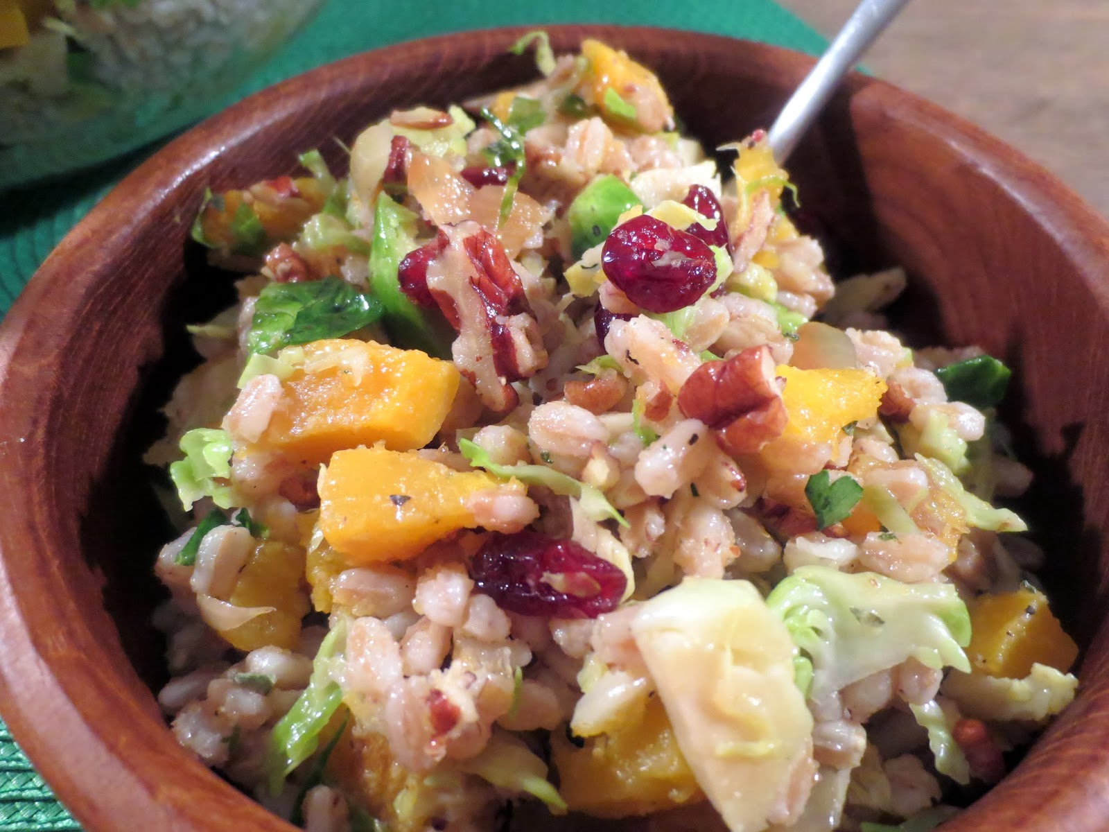The Owl with the Goblet: Butternut Farro Salad with Brussels Sprouts ...