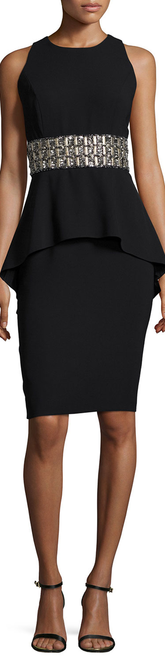 Carmen Marc Valvo Sleeveless Beaded-Waist Peplum Cocktail Dress