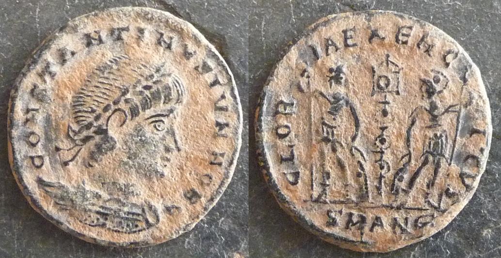 Monedas del Bajo Imperio: GLORIA EXERCITVS a nombre de
