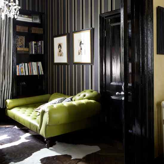 Braxton and yancey tim burton inspired home d cor in 3 style stories gothic modern gothic for Lime green living room wallpaper