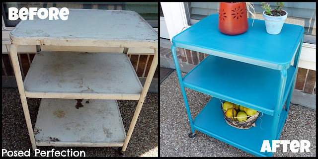 vintage metal cart before and after