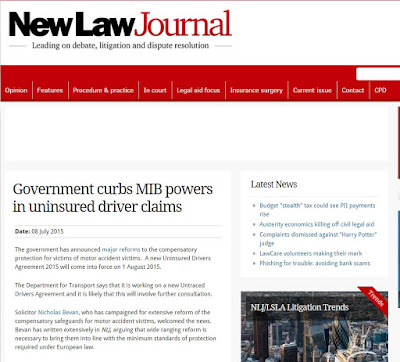 Extract from New Law Journal news item on Uninsured Drivers Agreement 2015