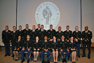 Members of the Bearkat Battalion commissioned at Second Lieutenants in the U.S. Army.