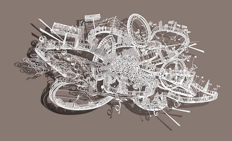 Intrincados cortes de papel con forma de montañas rusas por Bovey Lee