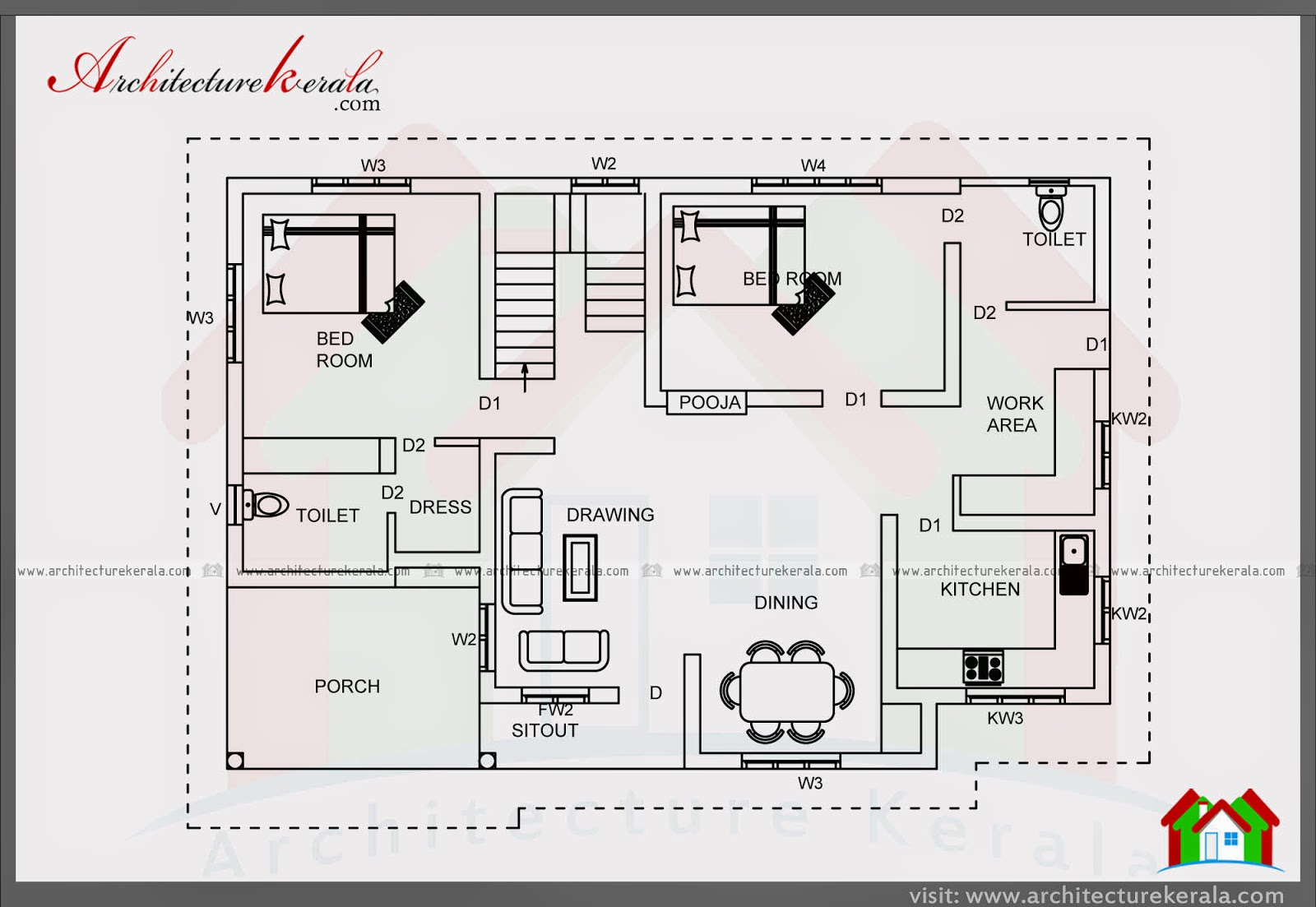5 bedroom in 2000 sft house plan architecture kerala for Two bedroom hall kitchen house plans