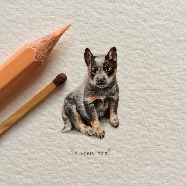 08-Cattle Dog-Lorraine-Loots-Miniature-Paintings-Commemorating-Special-Occasions-www-designstack-co