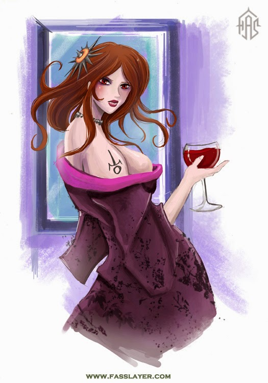 blood wine vampire woman sexy digital art