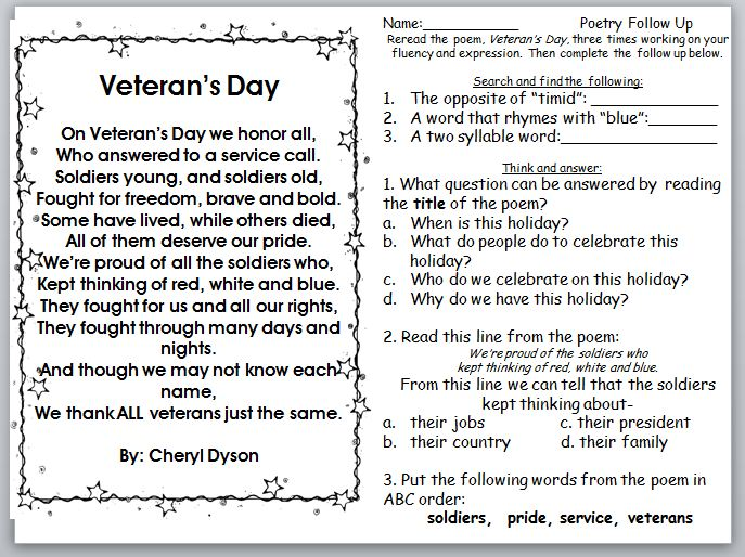 Third Grade Thinkers Sundays Words for the Week and a Free – Veterans Day Printable Worksheets