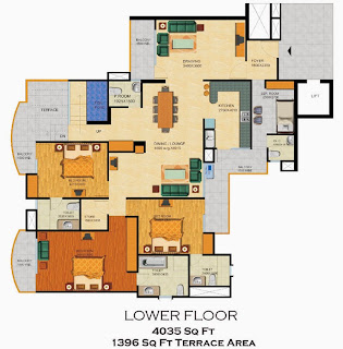 Emerald Court :: Floor Plans,Emperor Penthouse - Type B:-Lower Floor5 Bedrooms, 6 Toilets, Kitchen, Dining, Drawing, 2 Balconies, Lobby, Servant Room With Toilet Terrace Garden Area - 4035 Sq. Ft. 1396 Sq. Ft. Terrace Area
