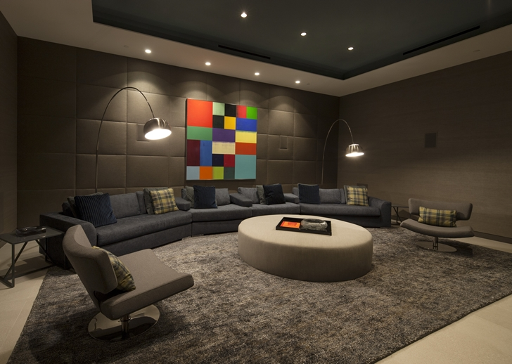 Entertainment room in Sunset Plaza Drive modern mansion in Los Angeles