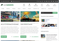 Magazine Style, geenish scheme, threaded commenting system, 2 column template, static sidebar