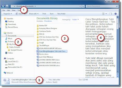 Bagian-Bagian Jendela Windows Explorer