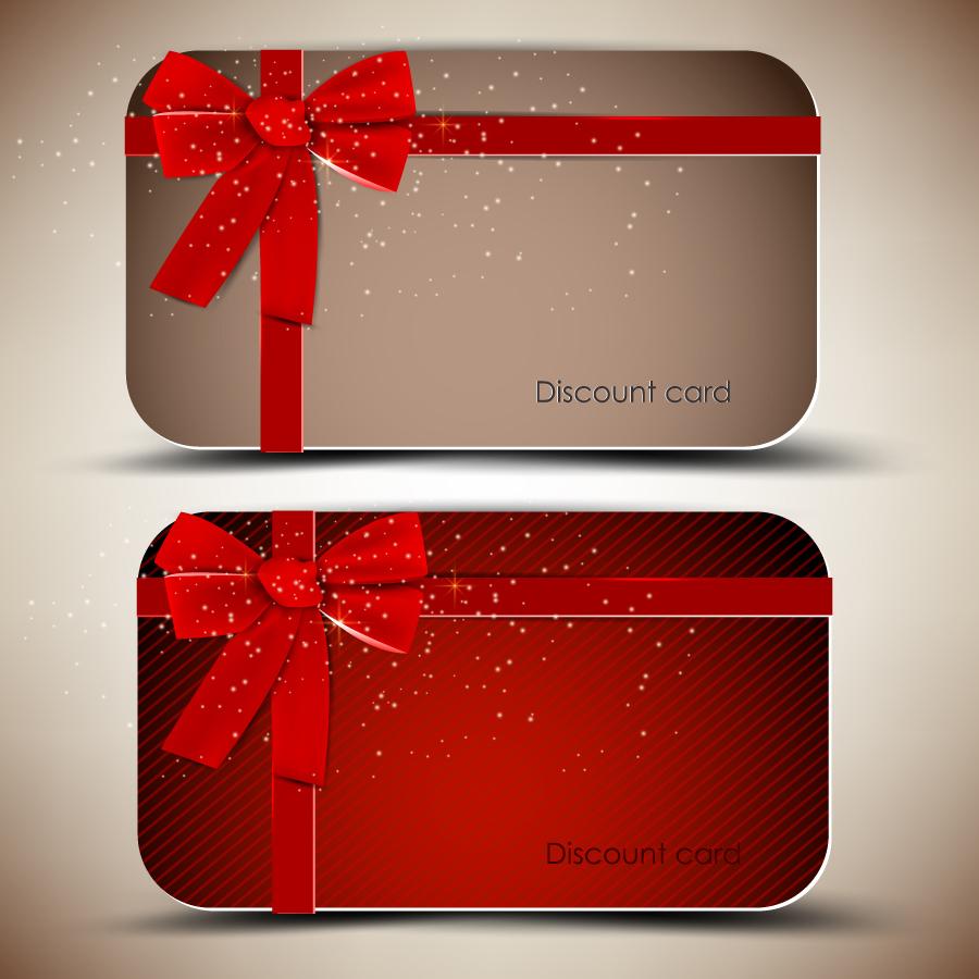 リボン飾りのディスカウント カード red ribbons card template イラスト素材