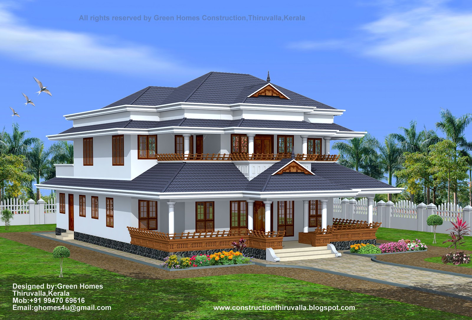 Green homes traditional style kerala home design 3450 sq feet for Conventional style home