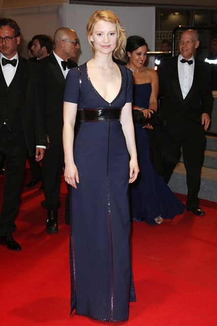 Mia Wasikowska wore a Louis Vuitton custom-made gown at Cannes 2014
