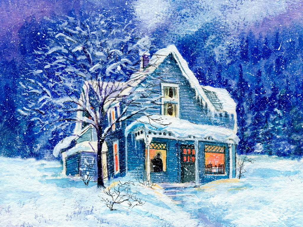 Beautiful Winter House Wallpaper