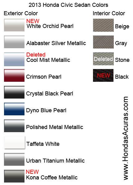 Honda Civic Color Chart Car Interior Design