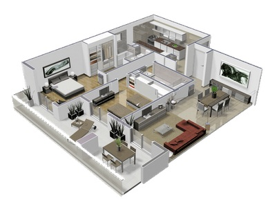 Elegant 2 Bedroom Apartment Design