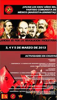 XXXV Aniversario del Partido Comunista de México (marxista-leninista) en Chiapas